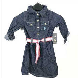 U.S POLO ASSN KIDS DENIM DRESS WITH BELT